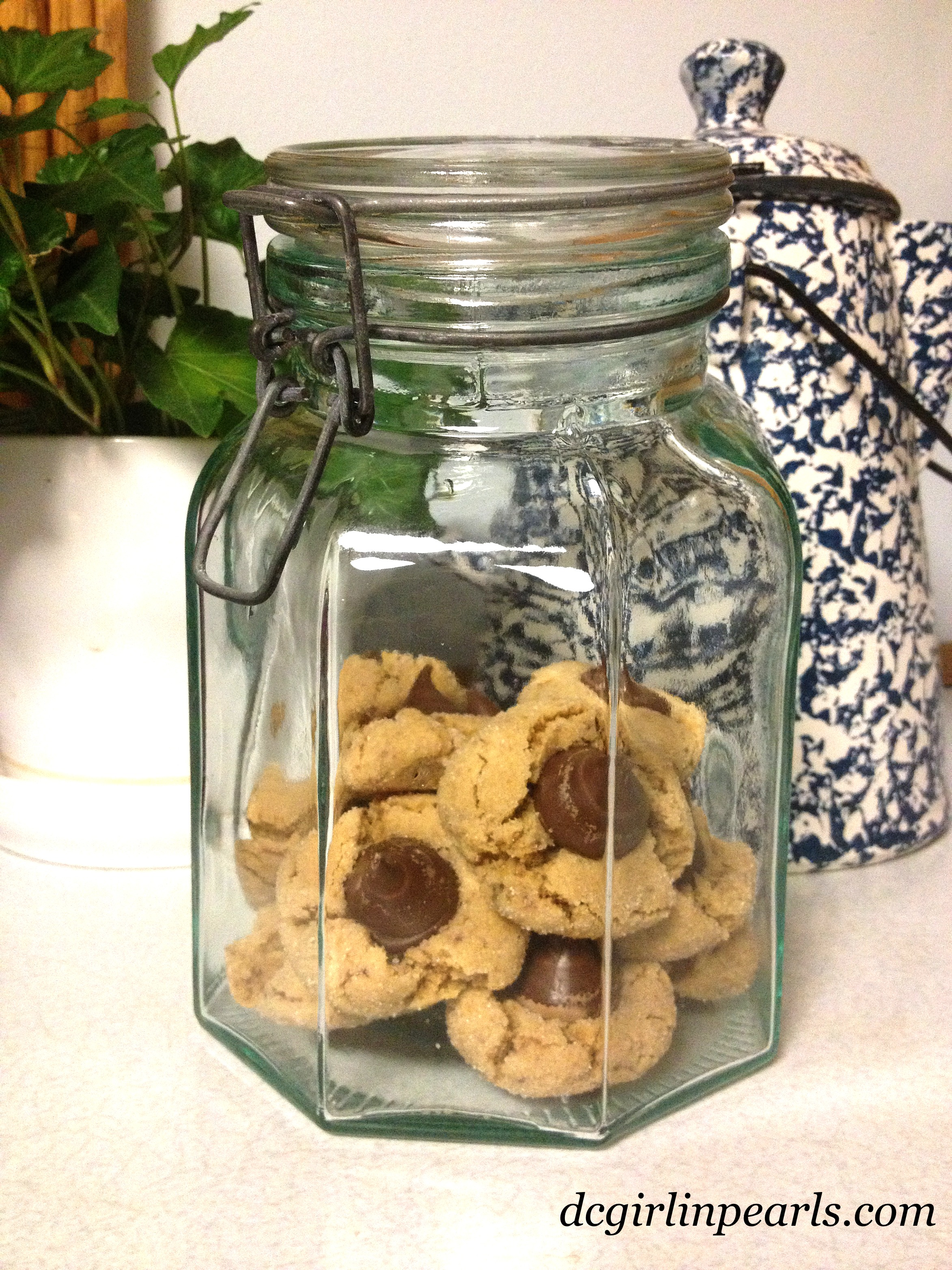 Peanut Butter Blossoms in Cookie Jar